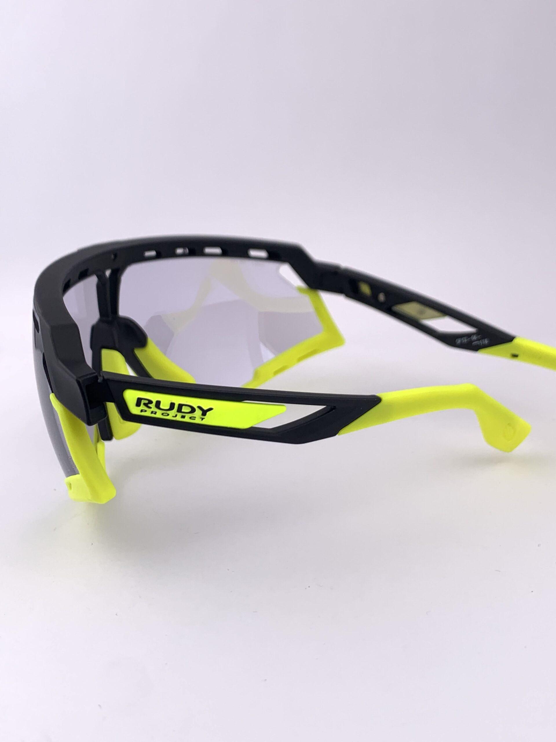Cyklistické okuliare Defender žlté fluo zozadu