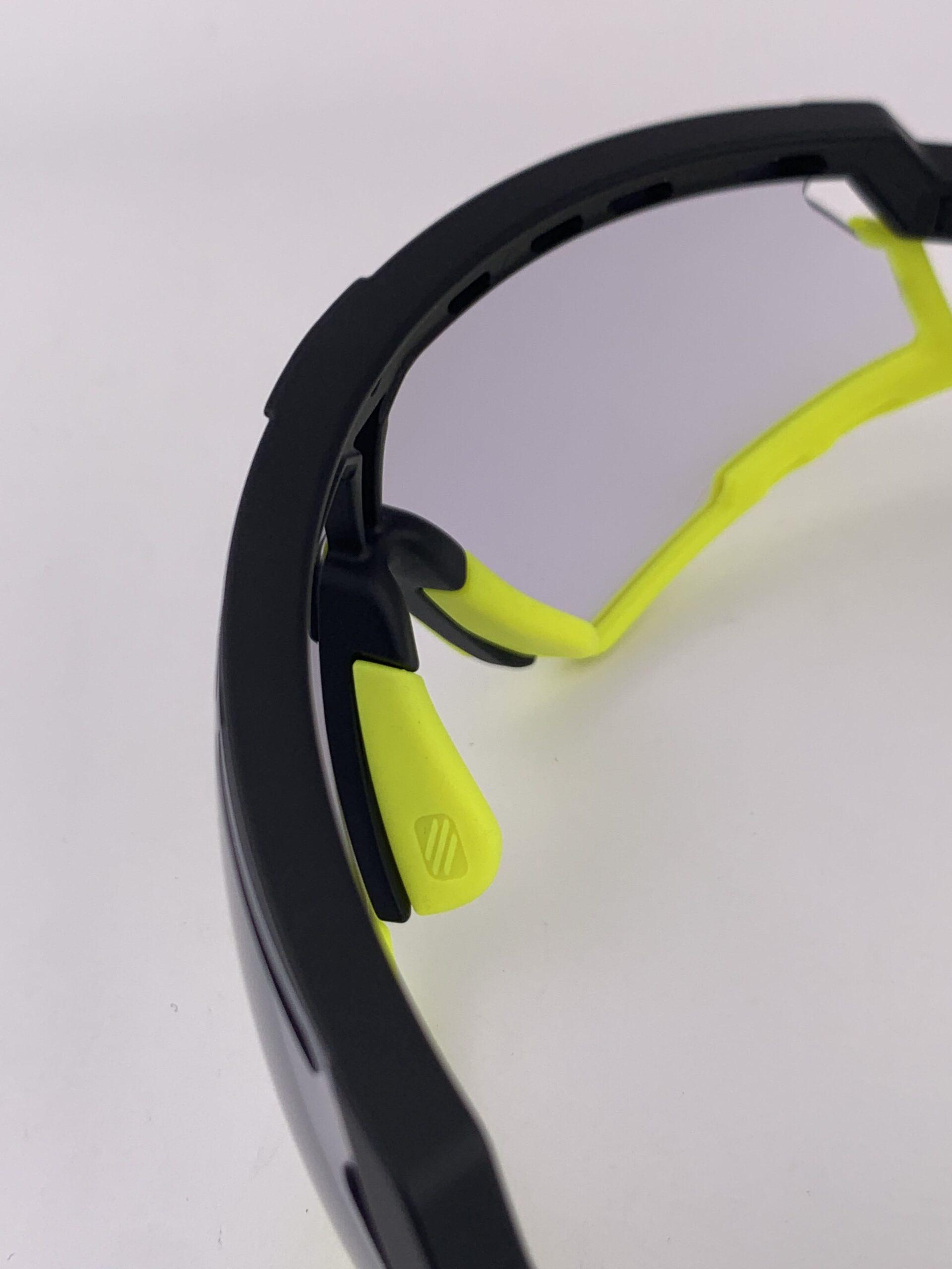 Cyklistické okuliare Defender žlté fluo zhora